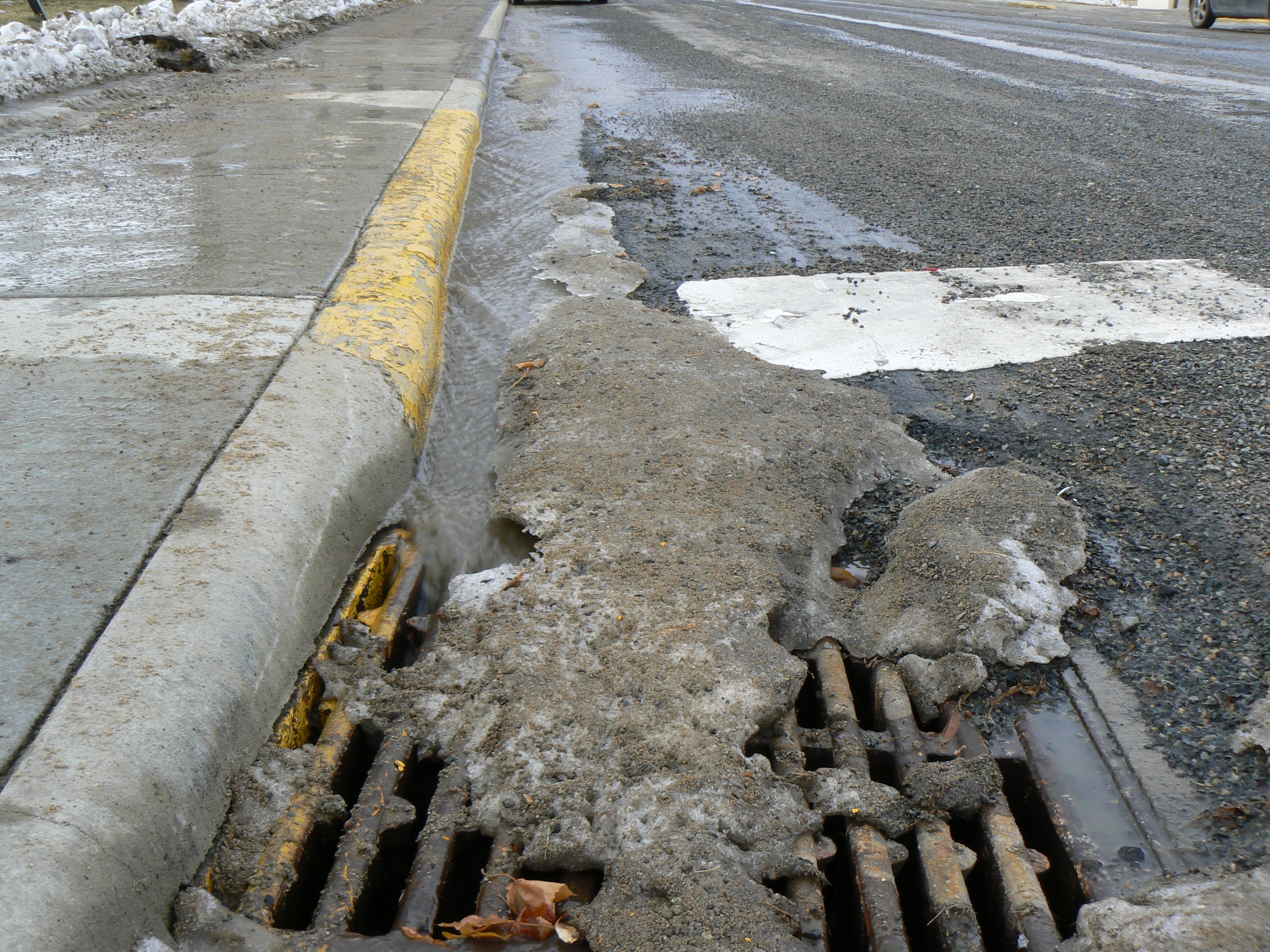 Polluted snow melts into sewer system